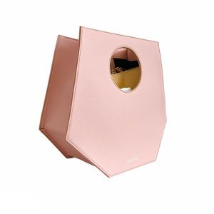 D'estree pink leather geometric prism cutout handle structured bag NWOT